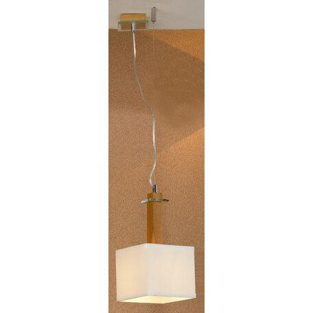 Подвесной светильник Lussole Montone LSF-2516-01, IP21, 1xE27x60W, коричневый, белый, дерево, стекло, текстиль - миниатюра 1
