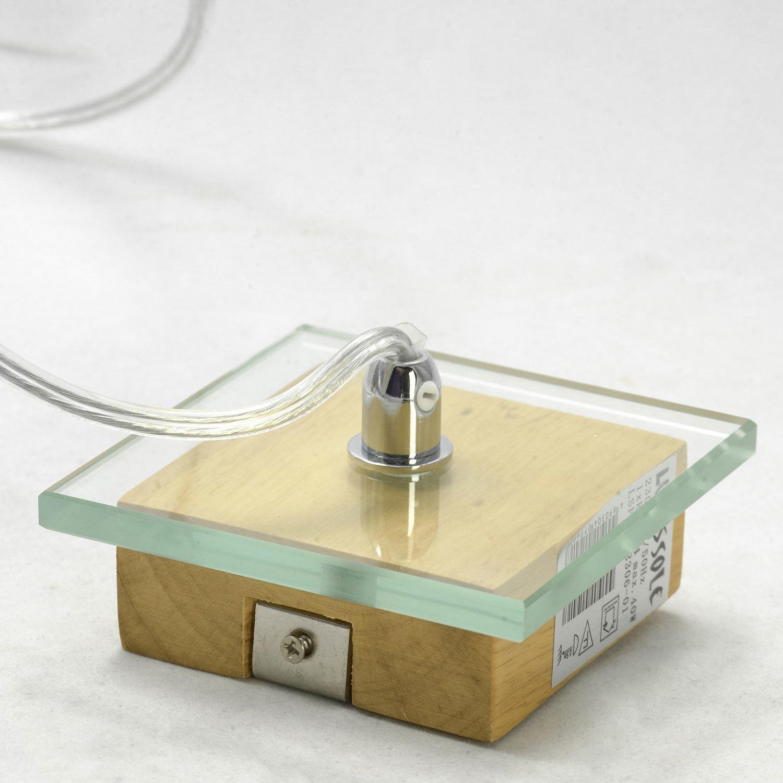 Подвесной светильник Lussole Montone LSF-2516-01, IP21, 1xE27x60W, коричневый, белый, дерево, стекло, текстиль - фото 6