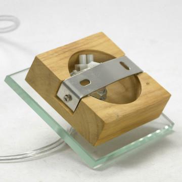Подвесной светильник Lussole Montone LSF-2516-01, IP21, 1xE27x60W, коричневый, белый, дерево, стекло, текстиль - миниатюра 7