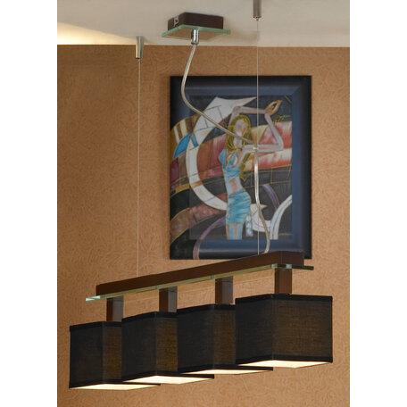 Подвесной светильник Lussole Montone LSF-2573-04, IP21, 4xE14x40W, венге, хром, черный, дерево, стекло, текстиль