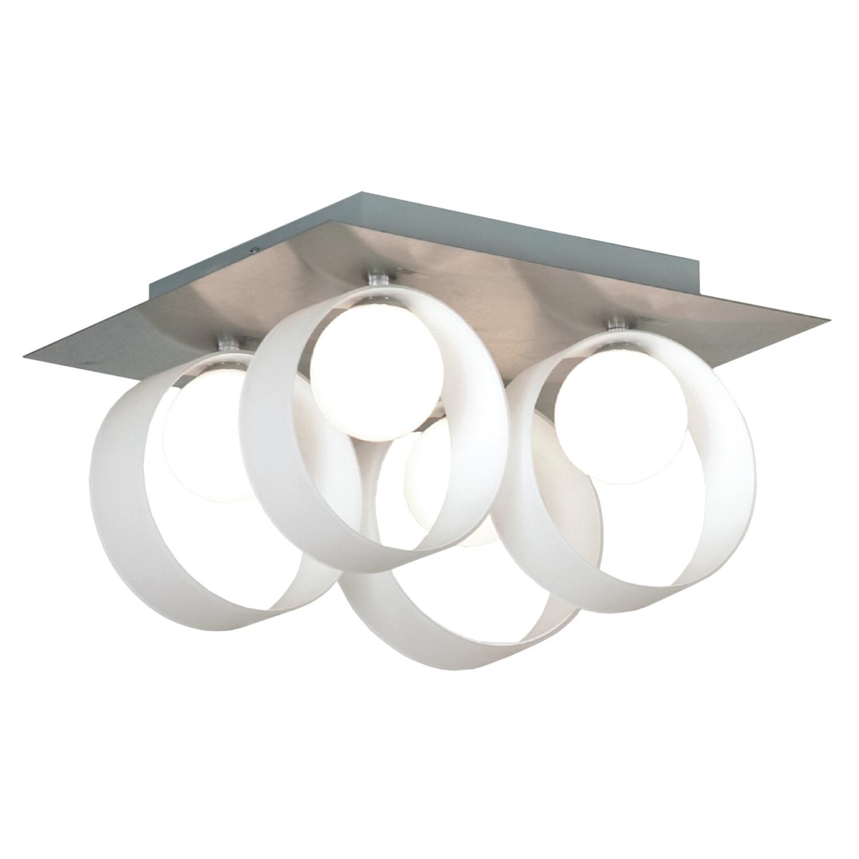 Потолочная люстра Lussole Loft Pallottola LSN-0407-04, IP21, 4xG9x40W, никель, белый, металл, стекло - фото 1