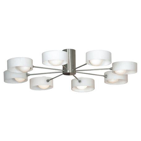 Потолочная люстра Lussole Loft Pallottola LSN-0407-08, 8xG9x40W, никель, белый, металл, стекло