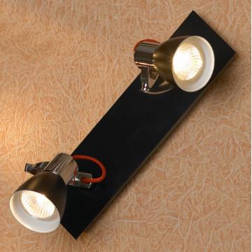Потолочный светильник с регулировкой направления света Lussole Loft Frontino LSL-7401-02, IP21, 2xGU10x50W, черный, металл