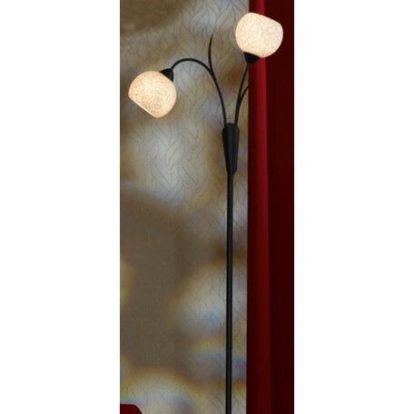 Торшер Lussole Loft Bagheria LSF-6295-02, IP21, 2xE14x40W, коричневый, белый, металл, стекло