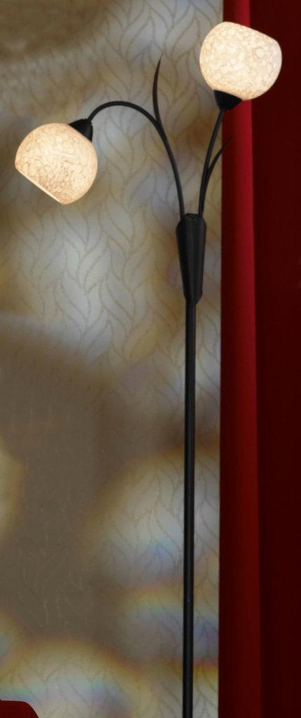 Торшер Lussole Loft Bagheria LSF-6295-02, IP21, 2xE14x40W, коричневый, белый, металл, стекло - фото 1