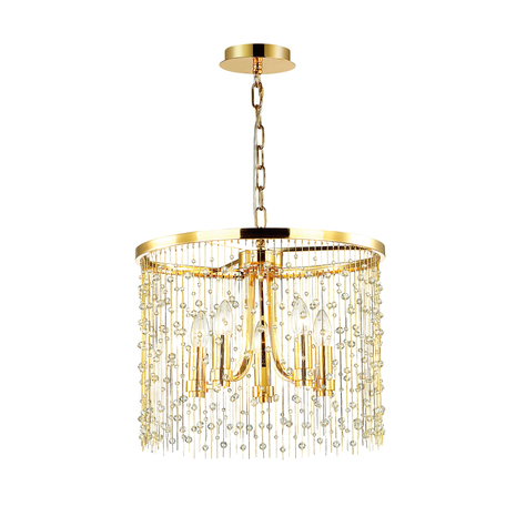 Подвесная люстра Odeon Light Hall Raini 4844/5, 5xE14x40W, золото, металл, металл с хрусталем