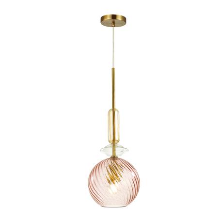 Подвесной светильник Odeon Light Pendant Bella 4862/1, 1xE27x60W, золото, янтарь, розовый, металл со стеклом, стекло