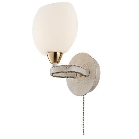 Бра Citilux Октава CL131313, 1xE14x60W, белый с золотой патиной, белый, металл, стекло