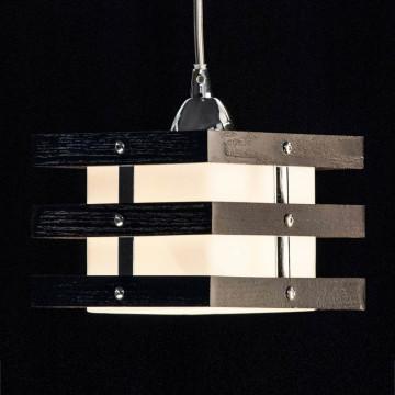 Подвесной светильник Citilux Киото CL133111, 1xE14x60W, венге, хром, белый, дерево, металл, стекло - миниатюра 4