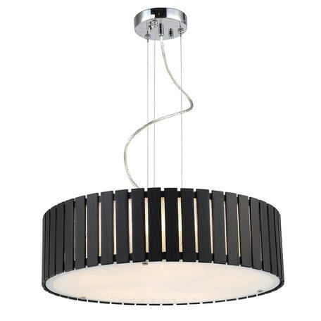 Подвесной светильник Citilux Ямато CL137251, 5xE27x75W, хром, белый, коричневый, металл, дерево, стекло