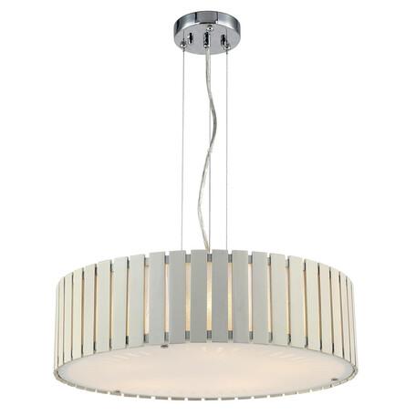 Подвесной светильник Citilux Ямато CL137252, 5xE27x75W, хром, бежевый, белый, металл, дерево, стекло