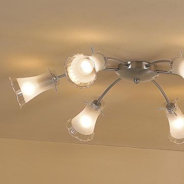 Потолочная люстра Citilux Дана CL106161, 6xE14x60W, матовый хром, белый, металл, стекло - миниатюра 3