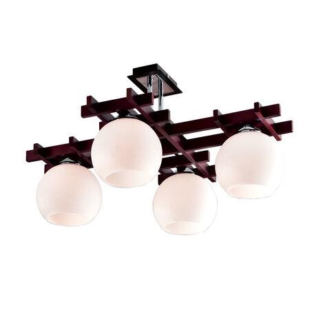 Потолочная люстра Citilux Нарита CL114141, 4xE27x100W, венге, белый, дерево, стекло