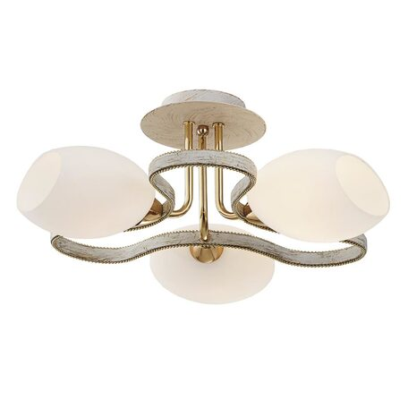 Потолочная люстра Citilux Октава CL131133, 3xE14x60W, белый с золотой патиной, белый, металл, стекло