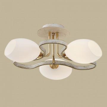 Потолочная люстра Citilux Октава CL131133, 3xE14x60W, белый с золотой патиной, белый, металл, стекло - миниатюра 3