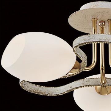 Потолочная люстра Citilux Октава CL131133, 3xE14x60W, белый с золотой патиной, белый, металл, стекло - миниатюра 4
