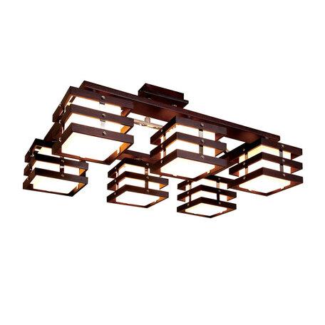 Потолочная люстра Citilux Киото CL133161, 6xE14x60W, венге, хром, белый, дерево, металл, стекло