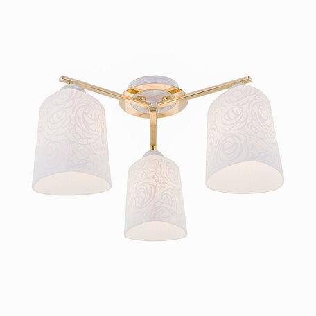 Потолочная люстра Citilux Лора CL146132, 3xE27x75W, белый с золотой патиной, золото, белый, металл, стекло