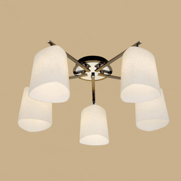 Потолочная люстра Citilux Лора CL146151, 5xE27x75W, черный, белый, металл, стекло - миниатюра 3