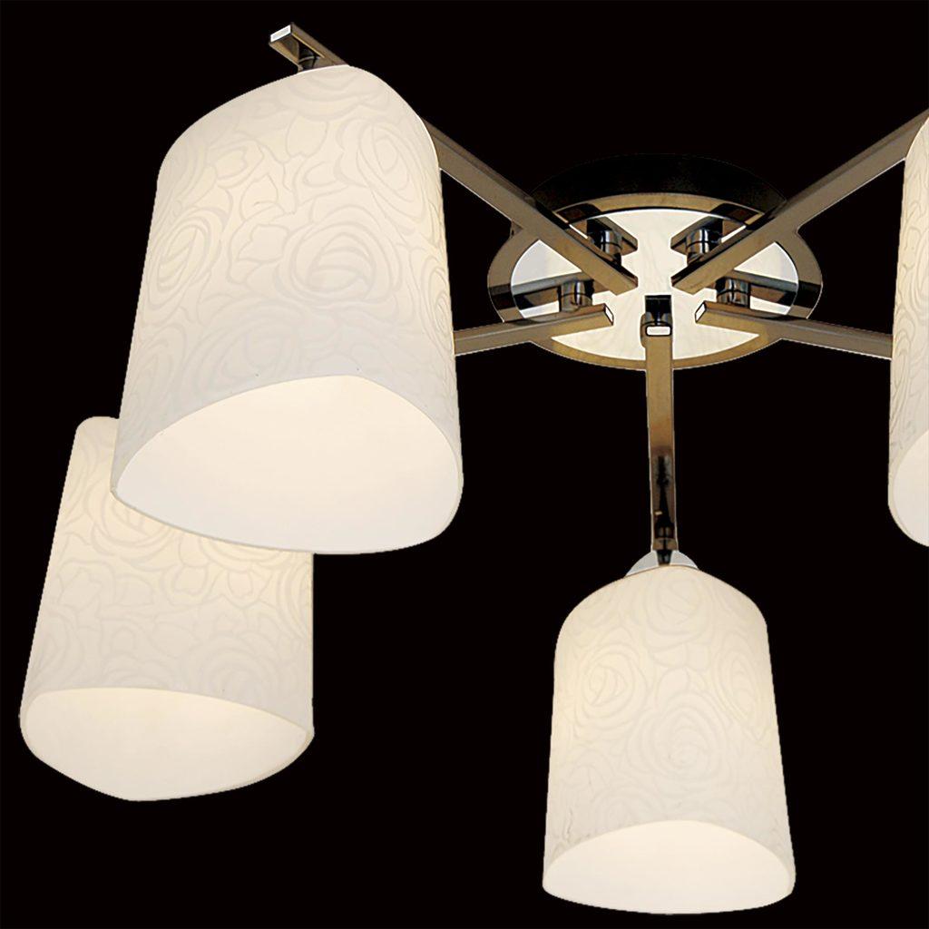Потолочная люстра Citilux Лора CL146151, 5xE27x75W, хром, черный, белый, металл, стекло - фото 4