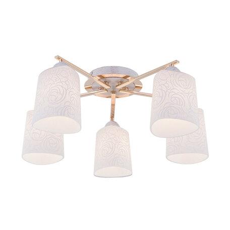 Потолочная люстра Citilux Лора CL146152, 5xE27x75W, белый с золотой патиной, золото, белый, металл, стекло