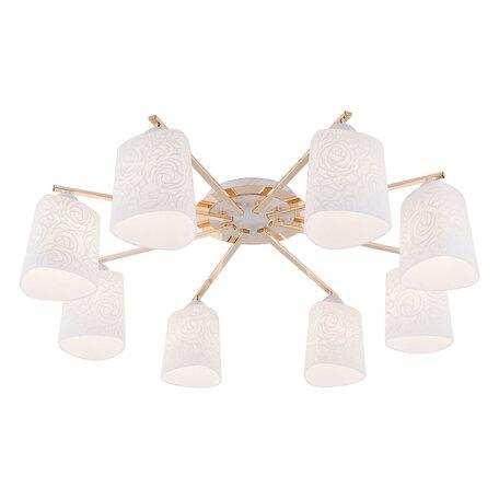 Потолочная люстра Citilux Лора CL146182, 8xE27x75W, белый с золотой патиной, белый, металл, стекло