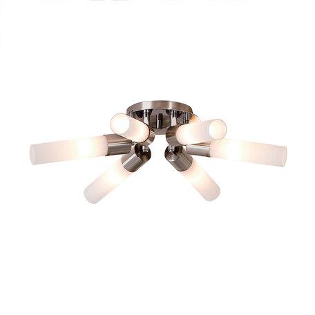 Потолочная люстра с регулировкой направления света Citilux Компакто CL101161, 6xE14x60W, матовый хром, белый, металл, стекло
