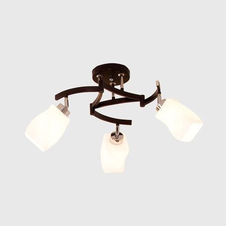 Потолочная люстра с регулировкой направления света Citilux Берта CL126131, 3xE27x75W, венге, хром, белый, металл, стекло