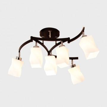 Потолочная люстра с регулировкой направления света Citilux Берта CL126161, 6xE27x75W, венге, хром, белый, металл, стекло