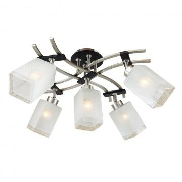 Потолочная люстра с регулировкой направления света Citilux Мерида CL142151, 5xE27x75W, венге, матовый хром, белый, дерево, металл, стекло