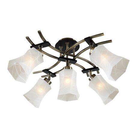 Потолочная люстра с регулировкой направления света Citilux Мерида CL142153, 5xE27x75W, бронза, венге, белый, дерево, металл, стекло