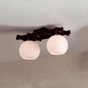 Потолочный светильник Citilux Нарита CL114121, 2xE27x100W, венге, белый, дерево, стекло - миниатюра 3