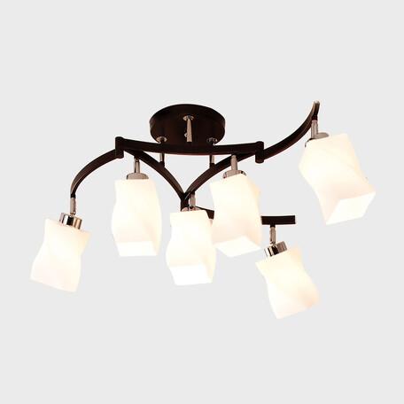 Потолочная люстра с регулировкой направления света Citilux Берта CL126161, 6xE27x75W, венге, белый, металл, стекло