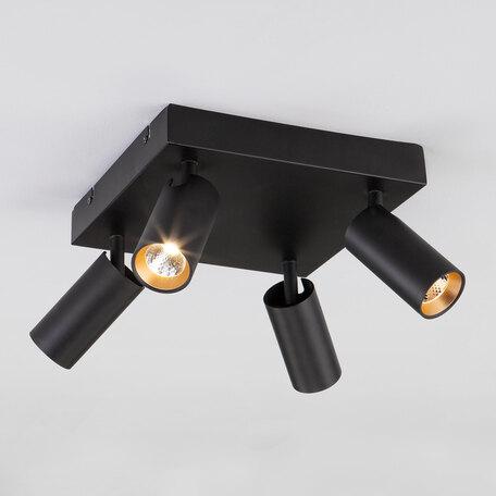 Потолочная светодиодная люстра с регулировкой направления света Eurosvet Fleur 20066/4 черный/золото 20W, LED 20W 4200K 1840lm, черный, металл