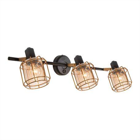 Настенный светильник с регулировкой направления света Citilux Таверна CL542632, 3xE14x60W, черный, бронза, янтарь, металл, металл со стеклом