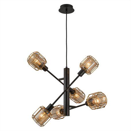 Подвесная люстра с регулировкой направления света Citilux Таверна CL542162, 6xE14x60W, черный, бронза, янтарь, металл, металл со стеклом