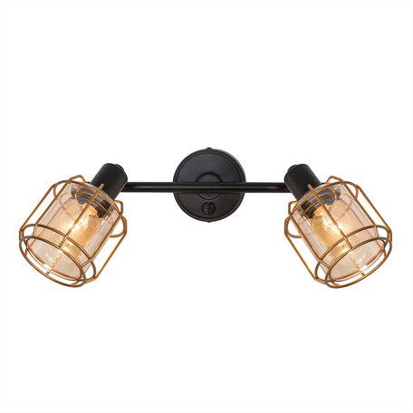 Настенный светильник с регулировкой направления света Citilux Таверна CL542622, 2xE14x60W, черный, бронза, янтарь, металл, металл со стеклом