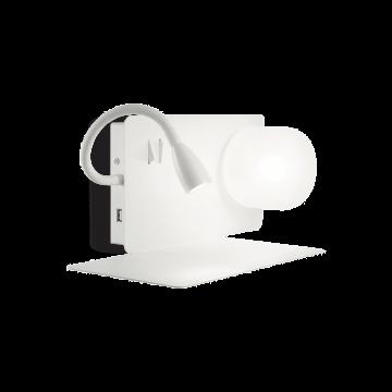 Настенный светильник с дополнительной подсветкой с полкой Ideal Lux BOOK-1 AP2 BIANCO 174792, 1xG9x28W 3000K (теплый), белый, металл, пластик, стекло