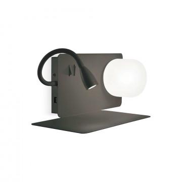 Настенный светильник с дополнительной подсветкой с полкой Ideal Lux BOOK-1 AP NERO 174808 (BOOK-1 AP2 NERO), 1xG9x28W + LED 3W 3000K 130lm, черный, белый, металл, стекло