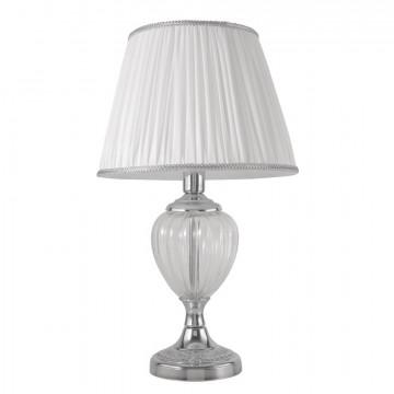 Настольная лампа Crystal Lux ALMA WHITE LG1 1060/501, 1xE14x60W, прозрачный, хром, белый, металл, стекло, текстиль