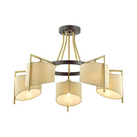 Потолочная люстра Lumion Neoclassi Karen 3750/5C, 5xE14x40W, коричневый, матовое золото, бежевый, металл, текстиль