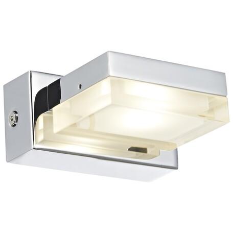 Настенный светодиодный светильник Wertmark Pia WE408.01.101, LED 3W 3000K, хром, металл, металл со стеклом
