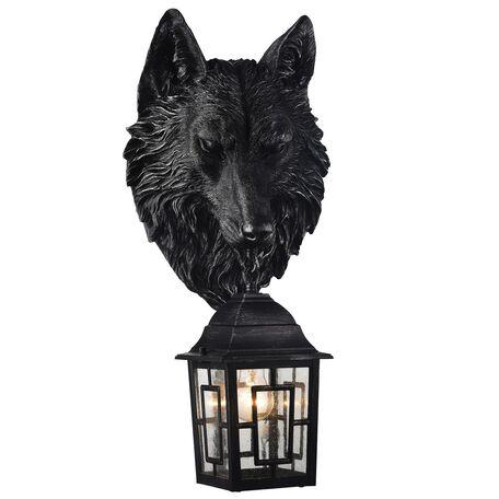 Настенный фонарь Favourite Hunt 2252-1W, IP44, 1xE27x60W, черный с серебряной патиной, прозрачный, гипс, металл, ковка, металл со стеклом