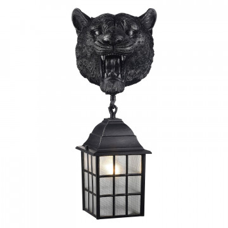 Настенный фонарь Favourite Hunt 2253-1W, IP44, 1xE27x60W, черный с серебряной патиной, прозрачный, гипс, металл, ковка, металл со стеклом