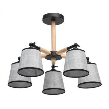 Потолочная люстра с регулировкой направления света De City Форест 693010505, коричневый, черный, серый, дерево, металл, текстиль