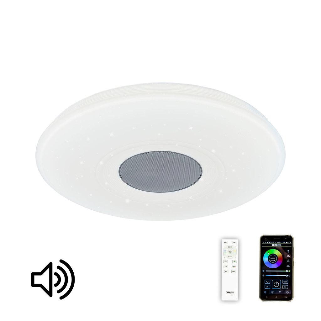 Музыкальный потолочный светодиодный светильник с пультом ДУ Citilux Старлайт CL703M50, LED 60W 3000-4200K + RGB 3500lm, белый, металл, пластик - фото 1