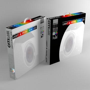 Музыкальный потолочный светодиодный светильник с пультом ДУ Citilux Старлайт CL703M50, LED 60W 3000-4200K + RGB 3500lm, белый, металл, пластик - миниатюра 10