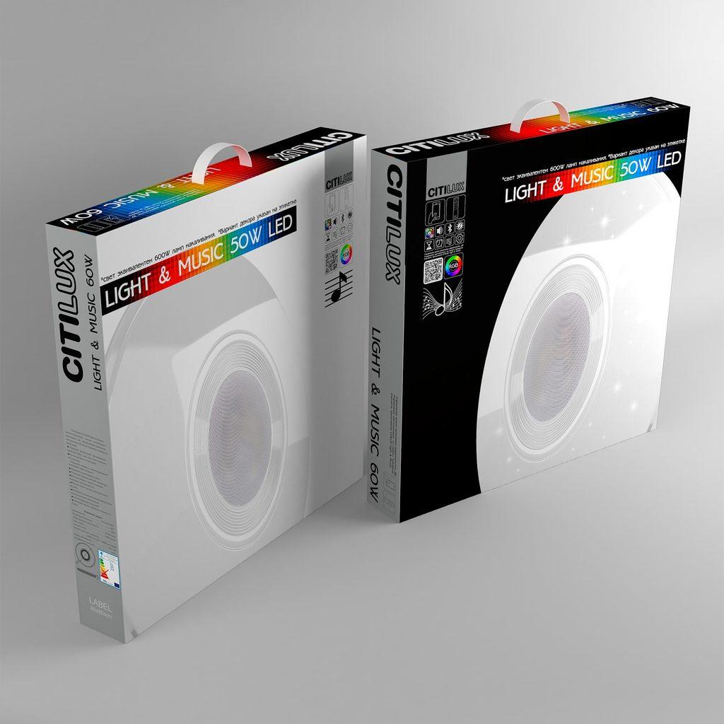 Музыкальный потолочный светодиодный светильник с пультом ДУ Citilux Старлайт CL703M50, LED 60W 3000-4200K + RGB 3500lm, белый, металл, пластик - фото 10