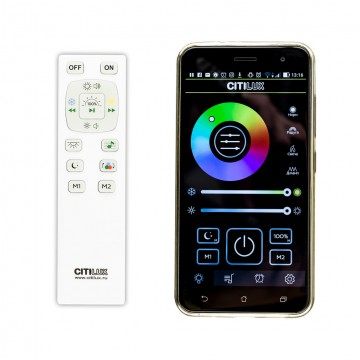 Музыкальный потолочный светодиодный светильник с пультом ДУ Citilux Старлайт CL703M50, LED 60W 3000-4200K + RGB 3500lm, белый, металл, пластик - миниатюра 6