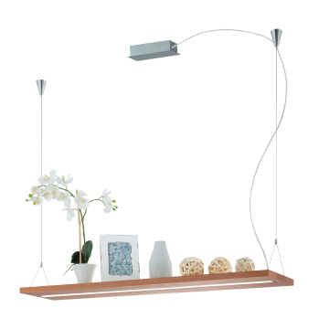 Подвесной светодиодный светильник с полкой Eglo Montroy 39328, LED 28W 3000K 3300lm, никель, серебро, коричневый, металл, дерево